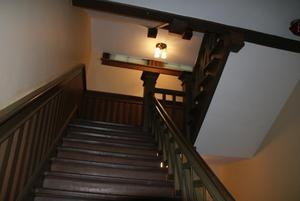 Primary view of object titled '[Looking Up a Staircase]'.