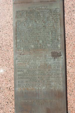 Primary view of object titled '[Close-Up of Liberty County Plaque]'.