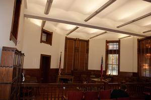 Primary view of object titled '[Interior of a Courtroom]'.