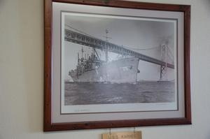 Primary view of object titled '[Framed Photograph of USS Karnes]'.