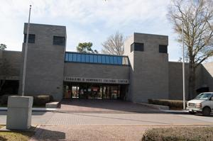 Primary view of object titled '[Exterior of Geraldine D. Humphrey's Cultural Center]'.