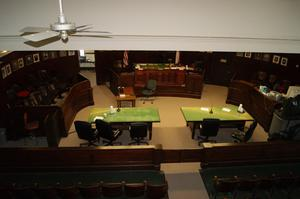 Primary view of object titled '[Looking Down on Courtroom]'.
