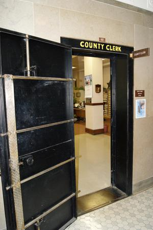 Primary view of object titled '[Door to County Clerk's Office]'.