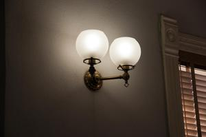 Primary view of object titled '[Lamp Mounted on Wall]'.
