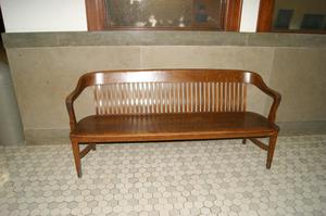 Primary view of object titled '[Photograph of a Wooden Bench]'.