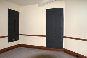 Primary view of object titled '[Photograph of Black Coverings for a Door and a Window]'.
