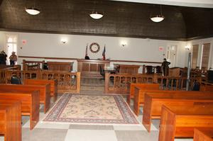 Primary view of object titled '[Aisle in Courtroom]'.