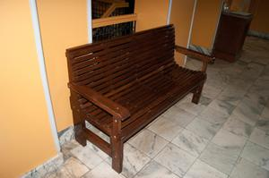 Primary view of object titled '[Photograph of a Slatted Bench]'.