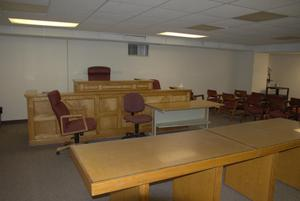 Primary view of object titled '[Chairs and Tables in Courtroom]'.