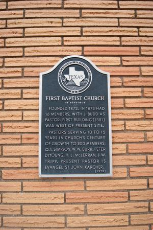 Primary view of object titled '[First Baptist Church Plaque]'.