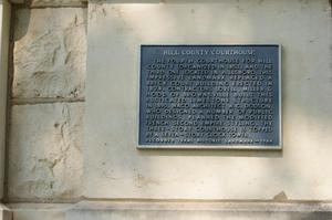 Primary view of object titled '[Plaque about Hill County Courthouse]'.
