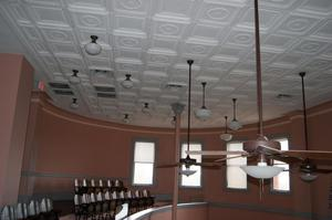 Primary view of object titled '[Lamps on Courtroom Ceiling]'.