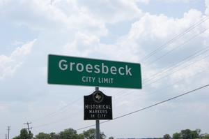 Primary view of object titled '[Street Signs in Groesbeck]'.