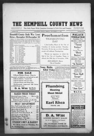 Primary view of object titled 'The Hemphill County News (Canadian, Tex), Vol. 7, No. 10, Ed. 1, Friday, November 17, 1944'.