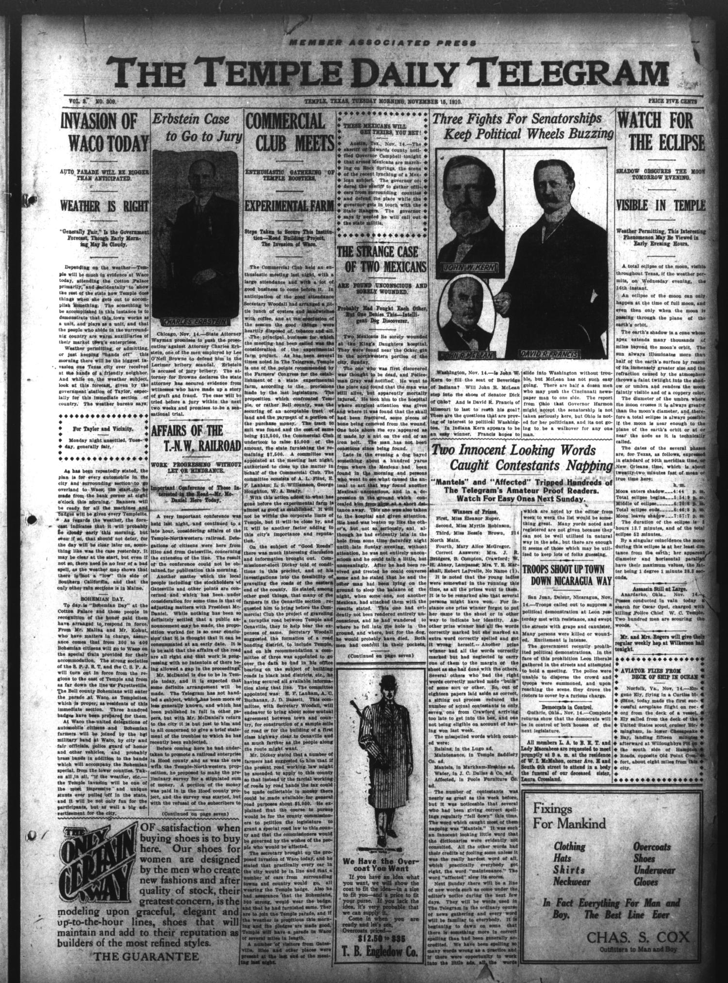 The Temple Daily Telegram (Temple, Tex.), Vol. 3, No. 309, Ed. 1 Tuesday, November 15, 1910                                                                                                      [Sequence #]: 1 of 7