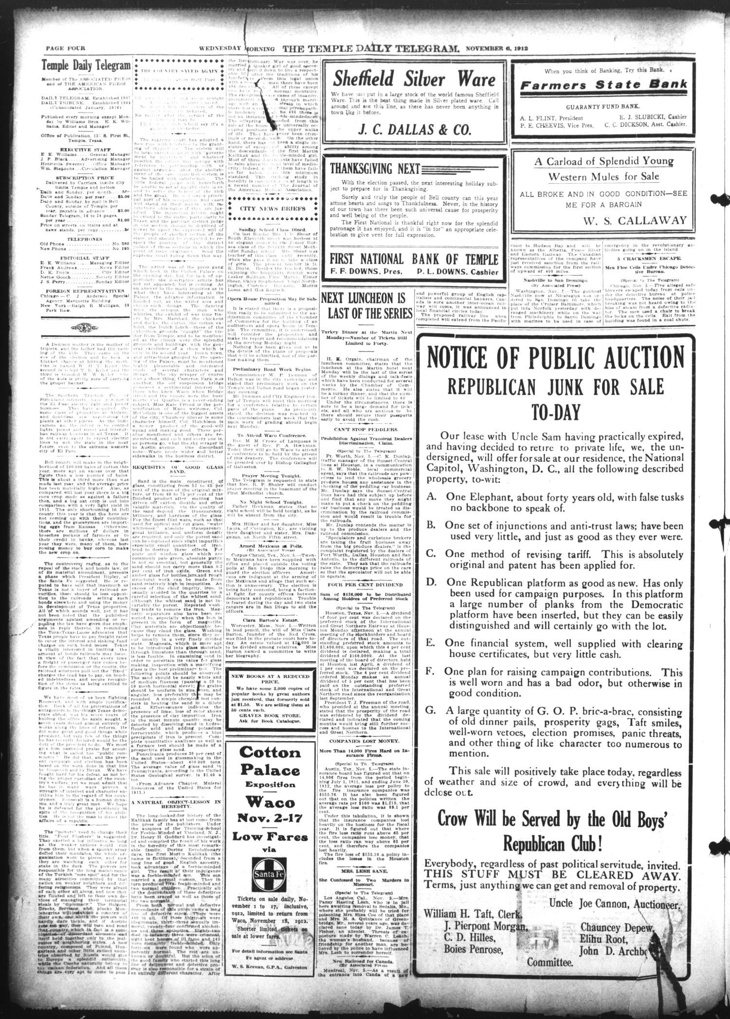 The Temple Daily Telegram (Temple, Tex.), Vol. 5, No. 303, Ed. 1 Wednesday, November 6, 1912                                                                                                      [Sequence #]: 4 of 10