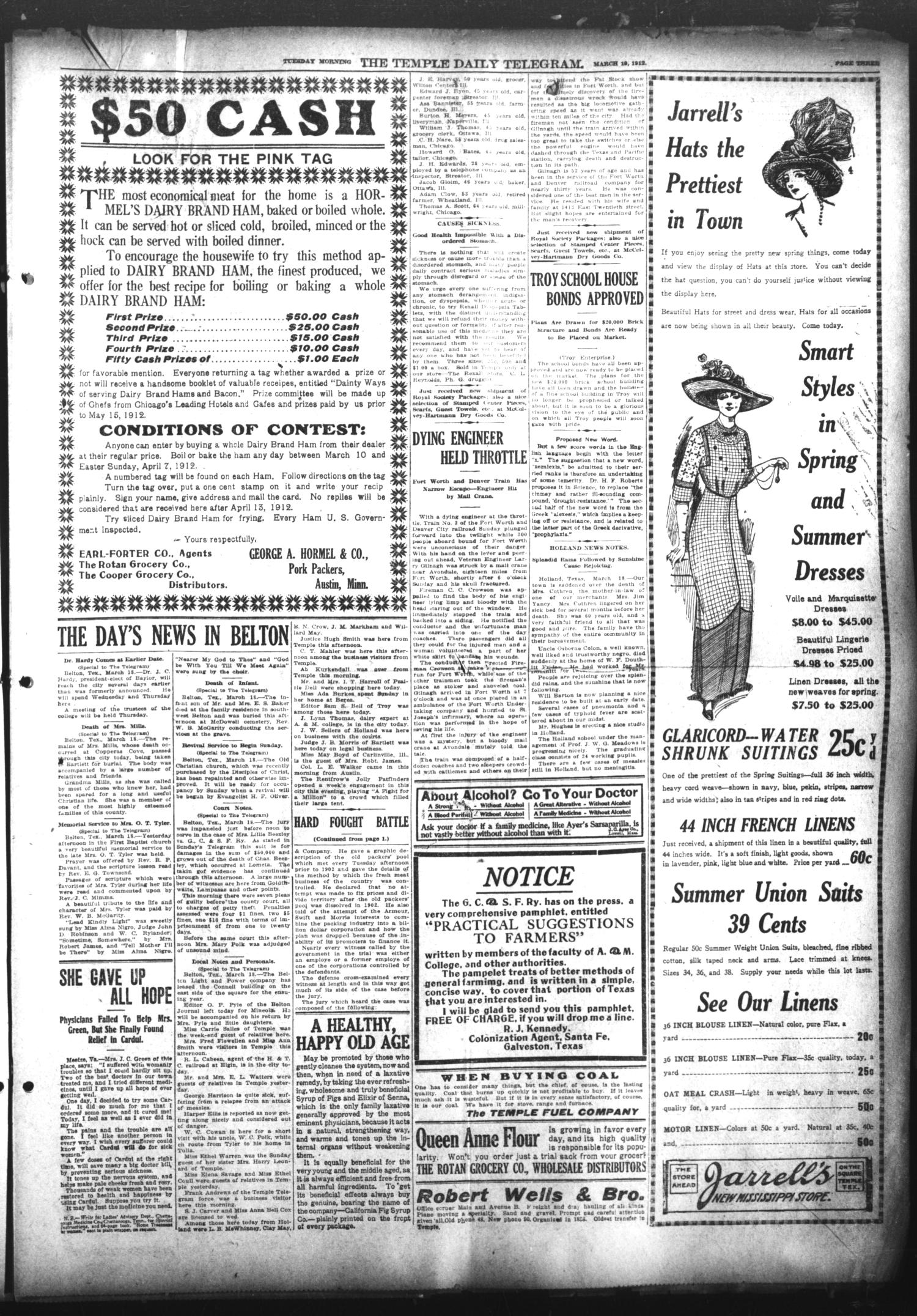 The Temple Daily Telegram (Temple, Tex.), Vol. 5, No. 104, Ed. 1 Tuesday, March 19, 1912                                                                                                      [Sequence #]: 3 of 8