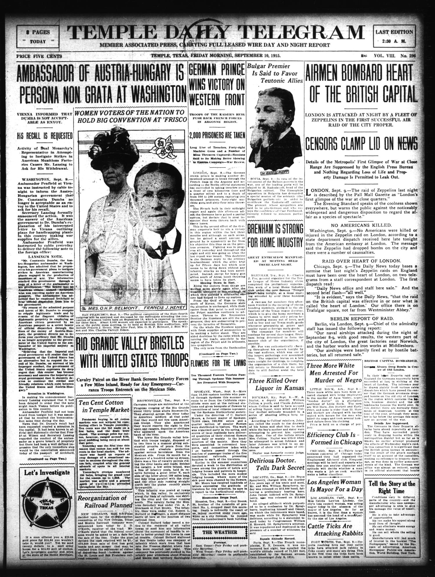 Temple Daily Telegram (Temple, Tex.), Vol. 8, No. 296, Ed. 1 Friday, September 10, 1915                                                                                                      [Sequence #]: 1 of 8