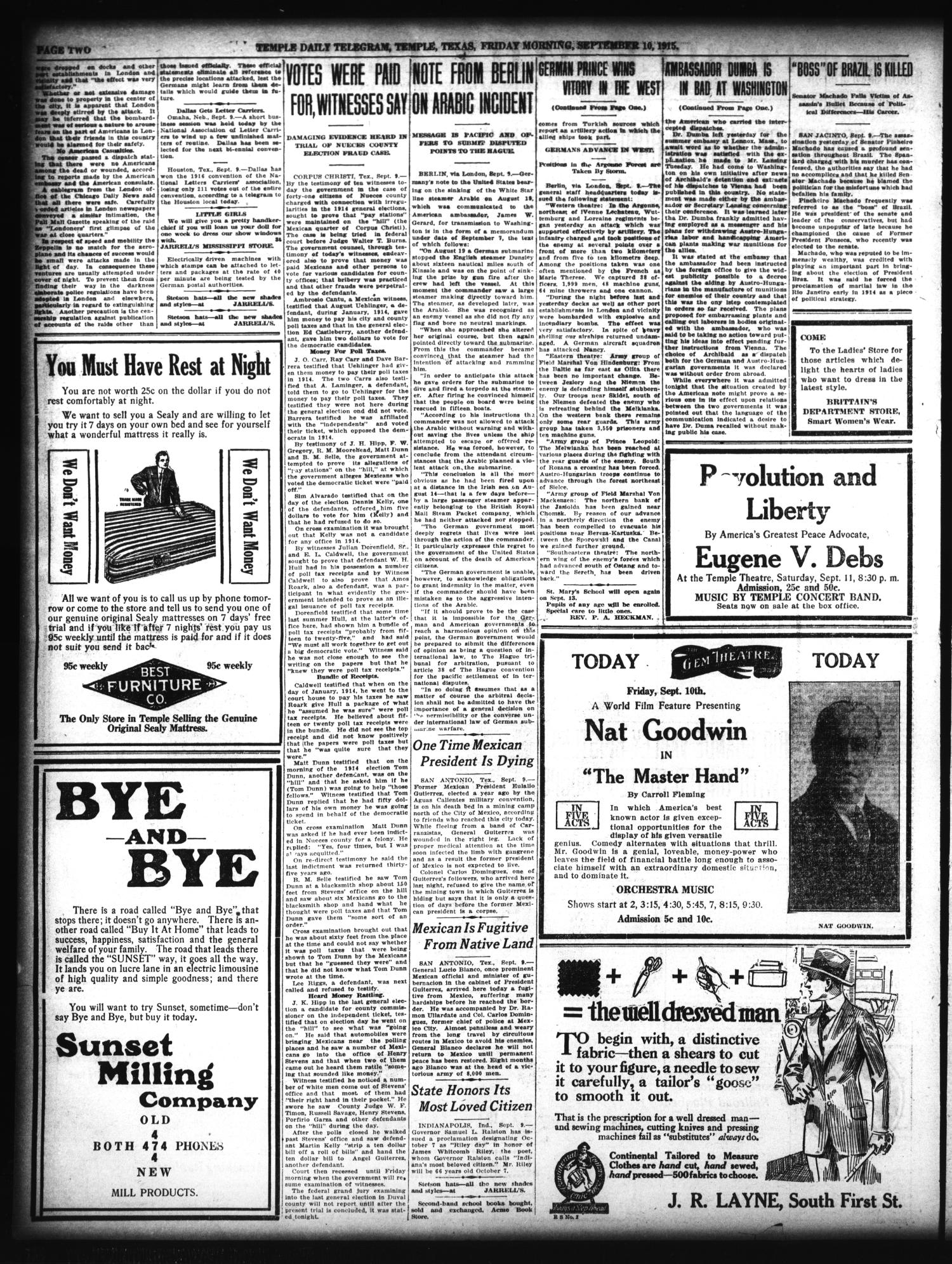 Temple Daily Telegram (Temple, Tex.), Vol. 8, No. 296, Ed. 1 Friday, September 10, 1915                                                                                                      [Sequence #]: 2 of 8