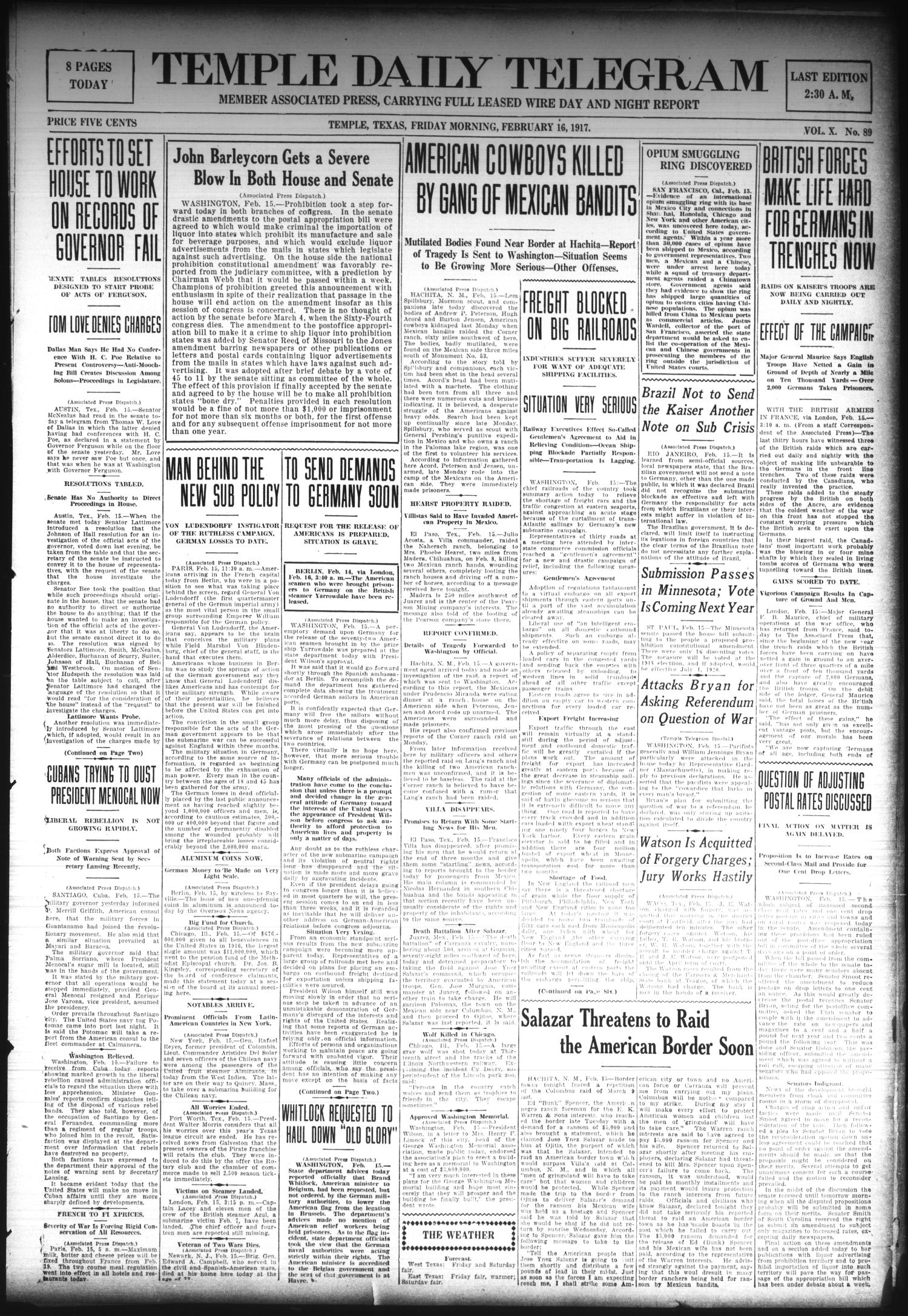 Temple Daily Telegram (Temple, Tex.), Vol. 10, No. 89, Ed. 1 Friday, February 16, 1917                                                                                                      [Sequence #]: 1 of 8