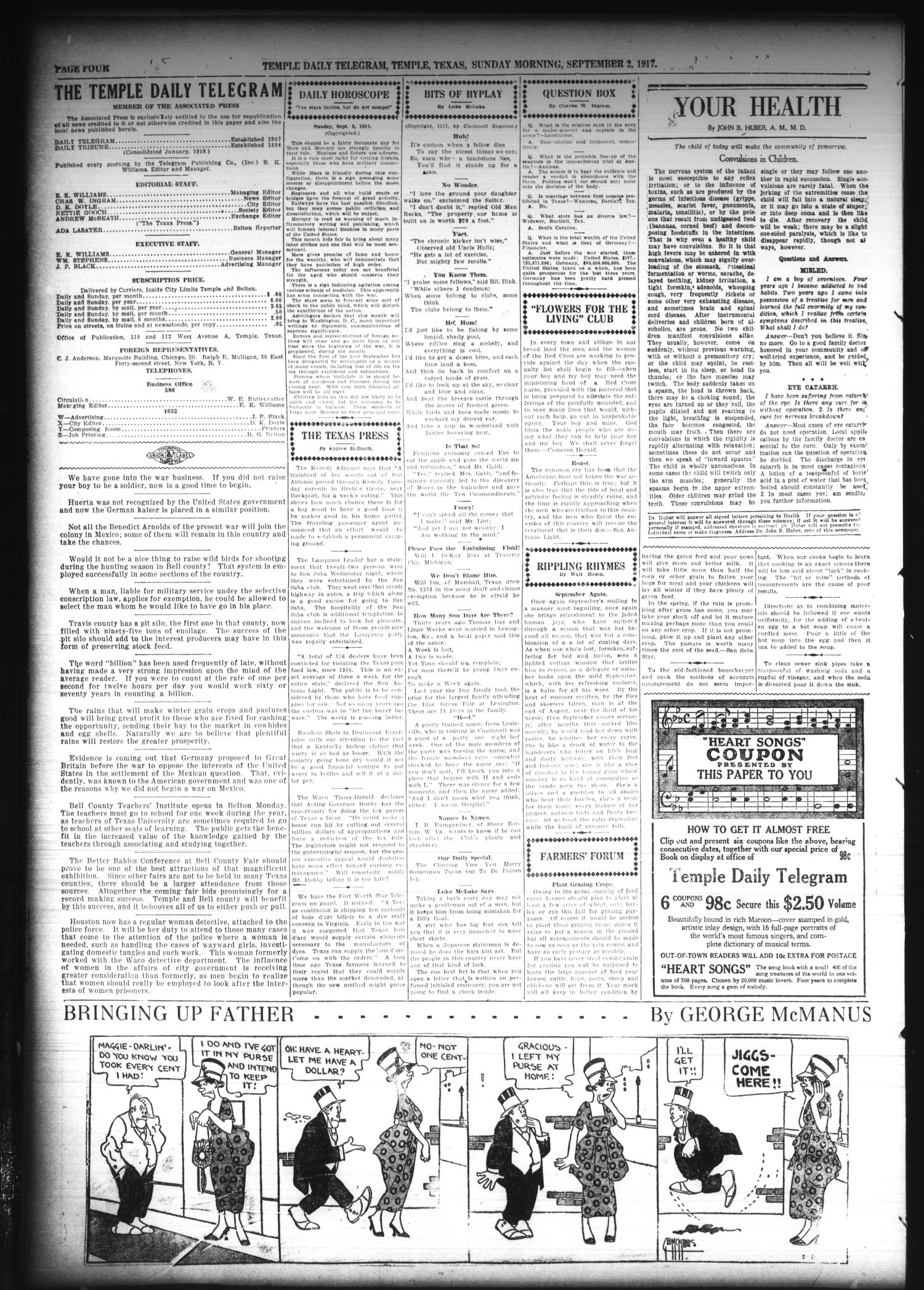 Temple Daily Telegram (Temple, Tex.), Vol. 10, No. 287, Ed. 1 Sunday, September 2, 1917                                                                                                      [Sequence #]: 4 of 16