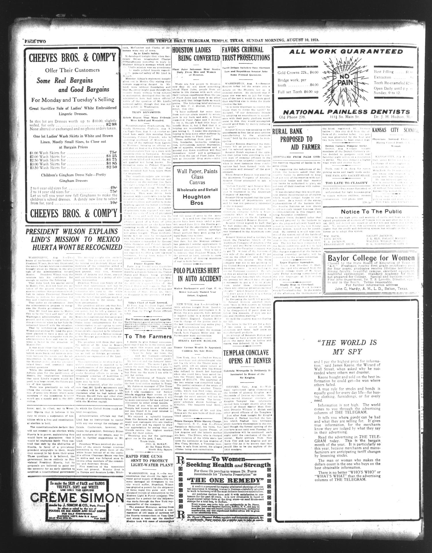 The Temple Daily Telegram (Temple, Tex.), Vol. 6, No. 229, Ed. 1 Sunday, August 10, 1913                                                                                                      [Sequence #]: 2 of 16