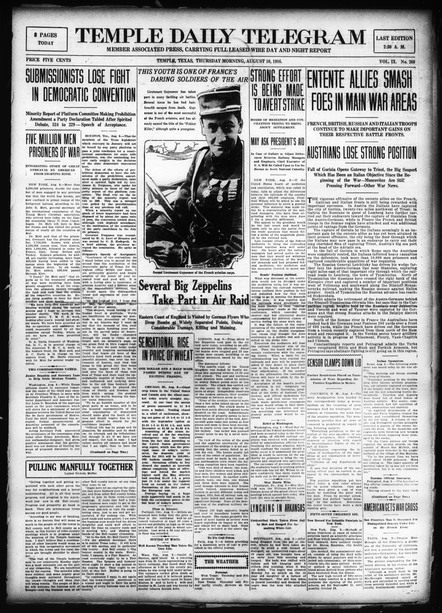 Temple Daily Telegram (Temple, Tex.), Vol. 9, No. 269, Ed. 1 Thursday, August 10, 1916                                                                                                      [Sequence #]: 1 of 8