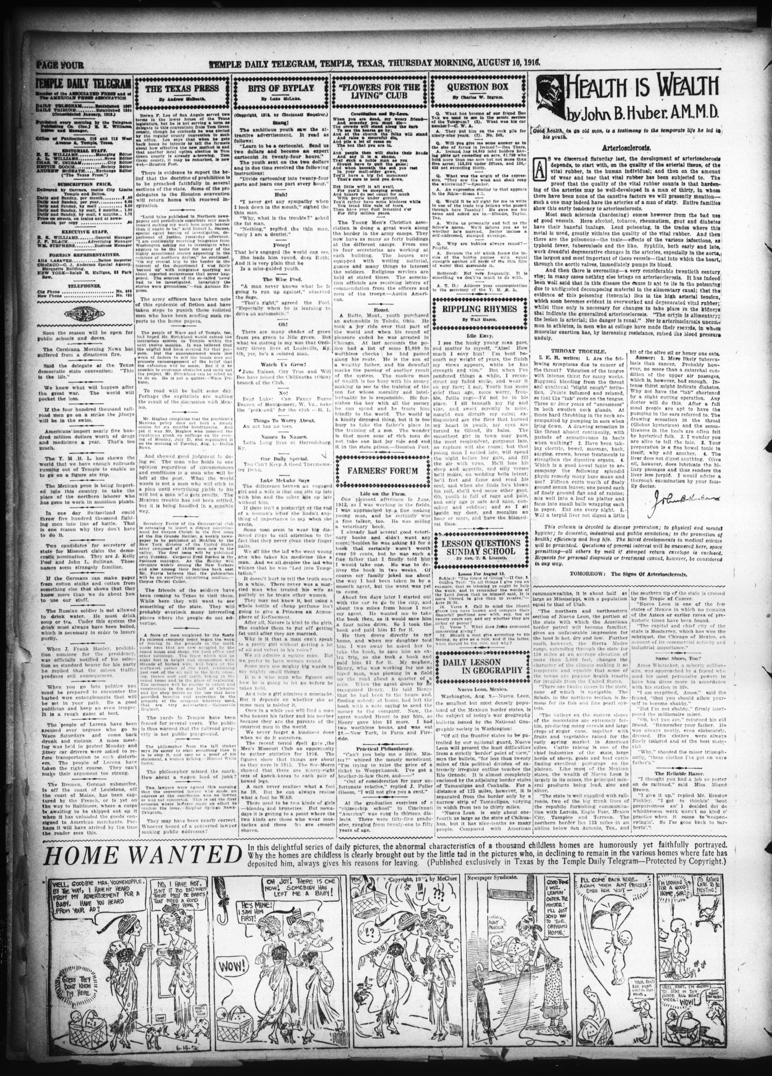 Temple Daily Telegram (Temple, Tex.), Vol. 9, No. 269, Ed. 1 Thursday, August 10, 1916                                                                                                      [Sequence #]: 4 of 8