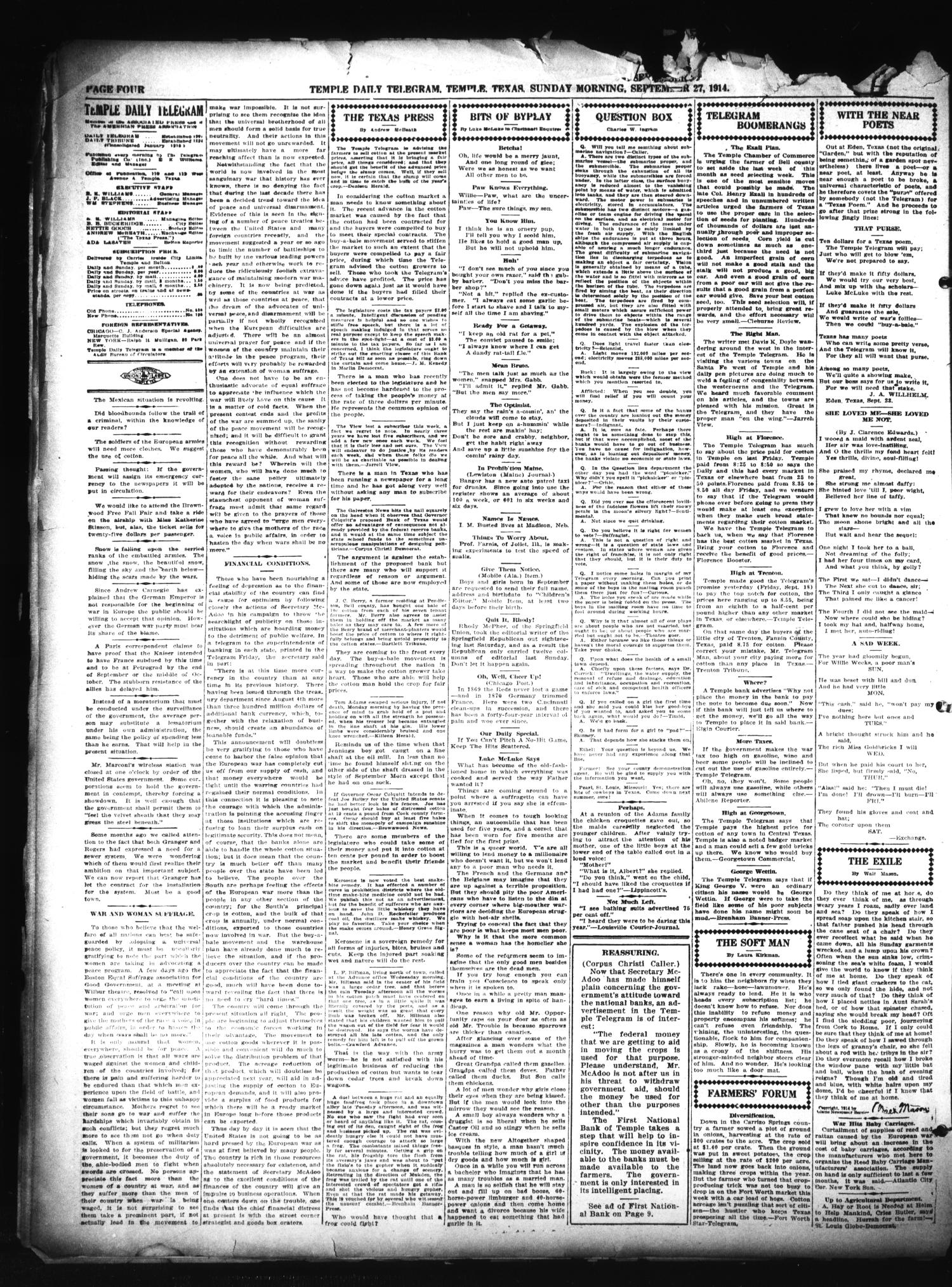 Temple Daily Telegram (Temple, Tex.), Vol. 7, No. 311, Ed. 1 Sunday, September 27, 1914                                                                                                      [Sequence #]: 4 of 12