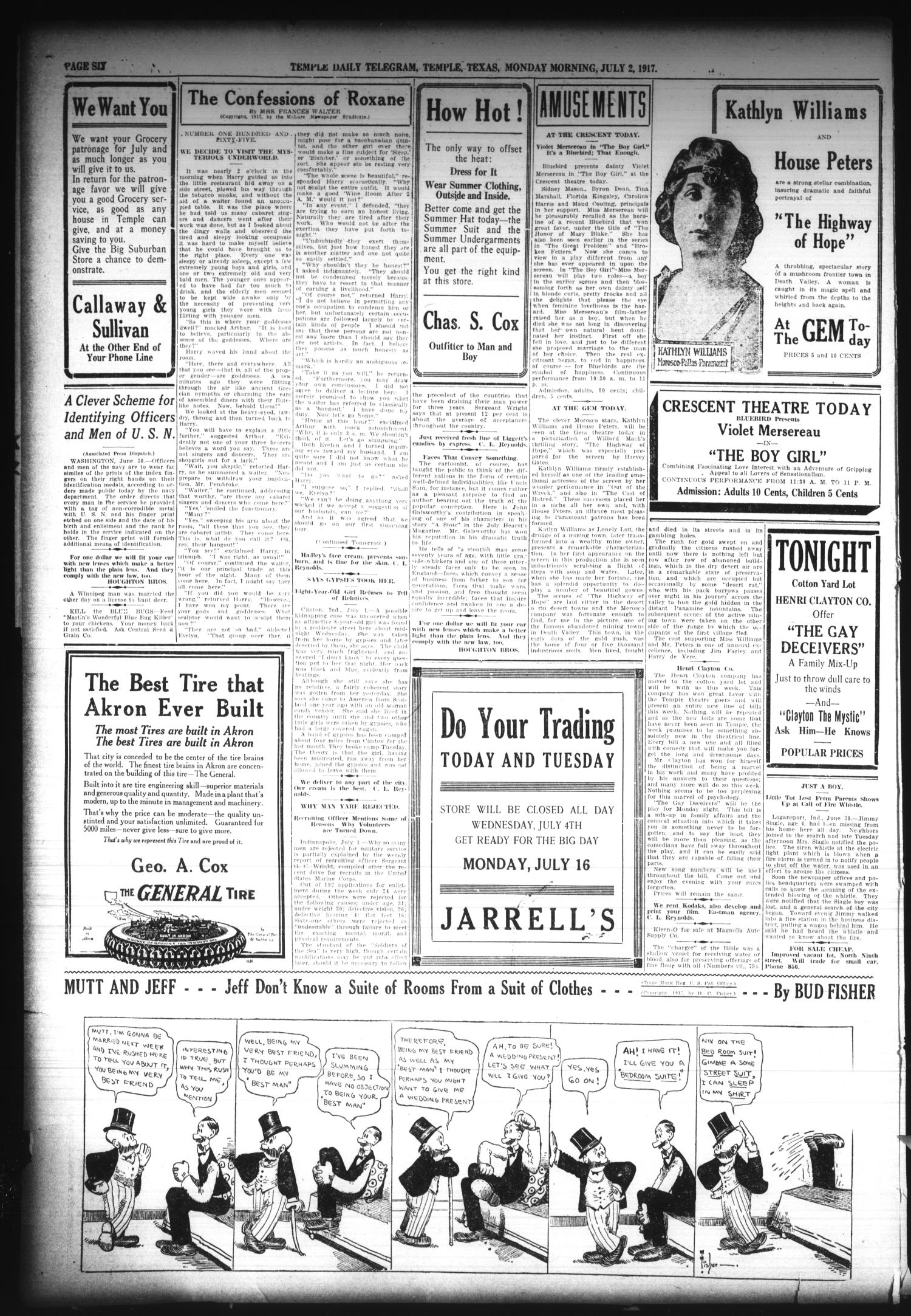 Temple Daily Telegram (Temple, Tex.), Vol. 10, No. 225, Ed. 1 Monday, July 2, 1917                                                                                                      [Sequence #]: 6 of 6