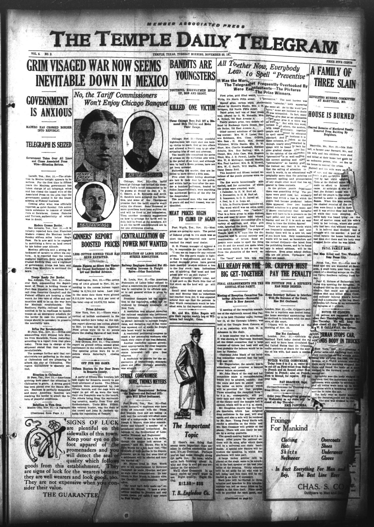 The Temple Daily Telegram (Temple, Tex.), Vol. 4, No. 2, Ed. 1 Tuesday, November 22, 1910                                                                                                      [Sequence #]: 1 of 8
