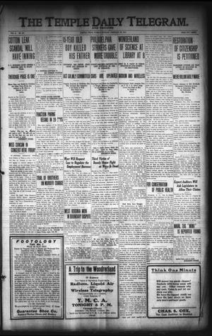 Primary view of object titled 'The Temple Daily Telegram. And Tribune (Temple, Tex.), Vol. 3, No. 82, Ed. 1 Tuesday, February 22, 1910'.