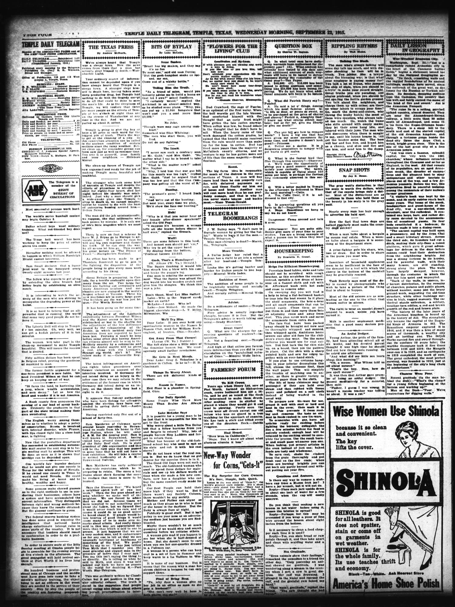 Temple Daily Telegram (Temple, Tex.), Vol. 8, No. 309, Ed. 1 Wednesday, September 22, 1915                                                                                                      [Sequence #]: 4 of 8