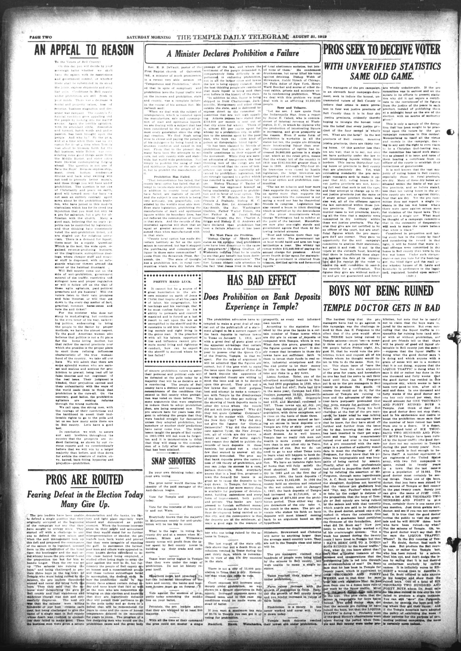 The Temple Daily Telegram (Temple, Tex.), Vol. 5, No. 246, Ed. 1 Saturday, August 31, 1912                                                                                                      [Sequence #]: 2 of 8