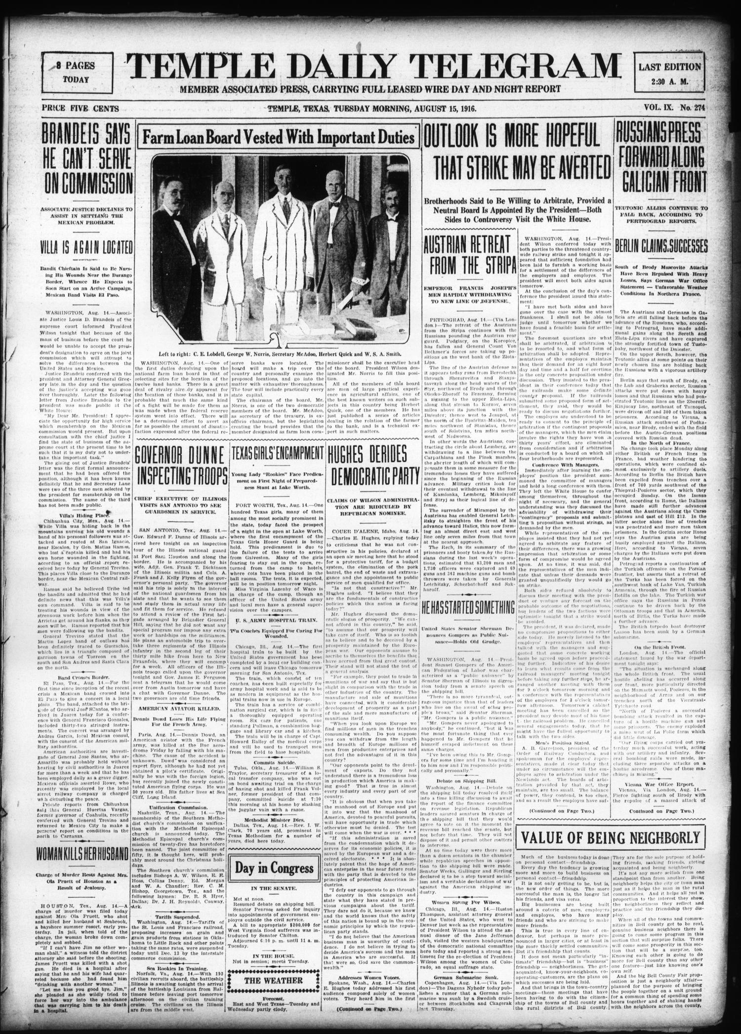 Temple Daily Telegram (Temple, Tex.), Vol. 9, No. 274, Ed. 1 Tuesday, August 15, 1916                                                                                                      [Sequence #]: 1 of 8