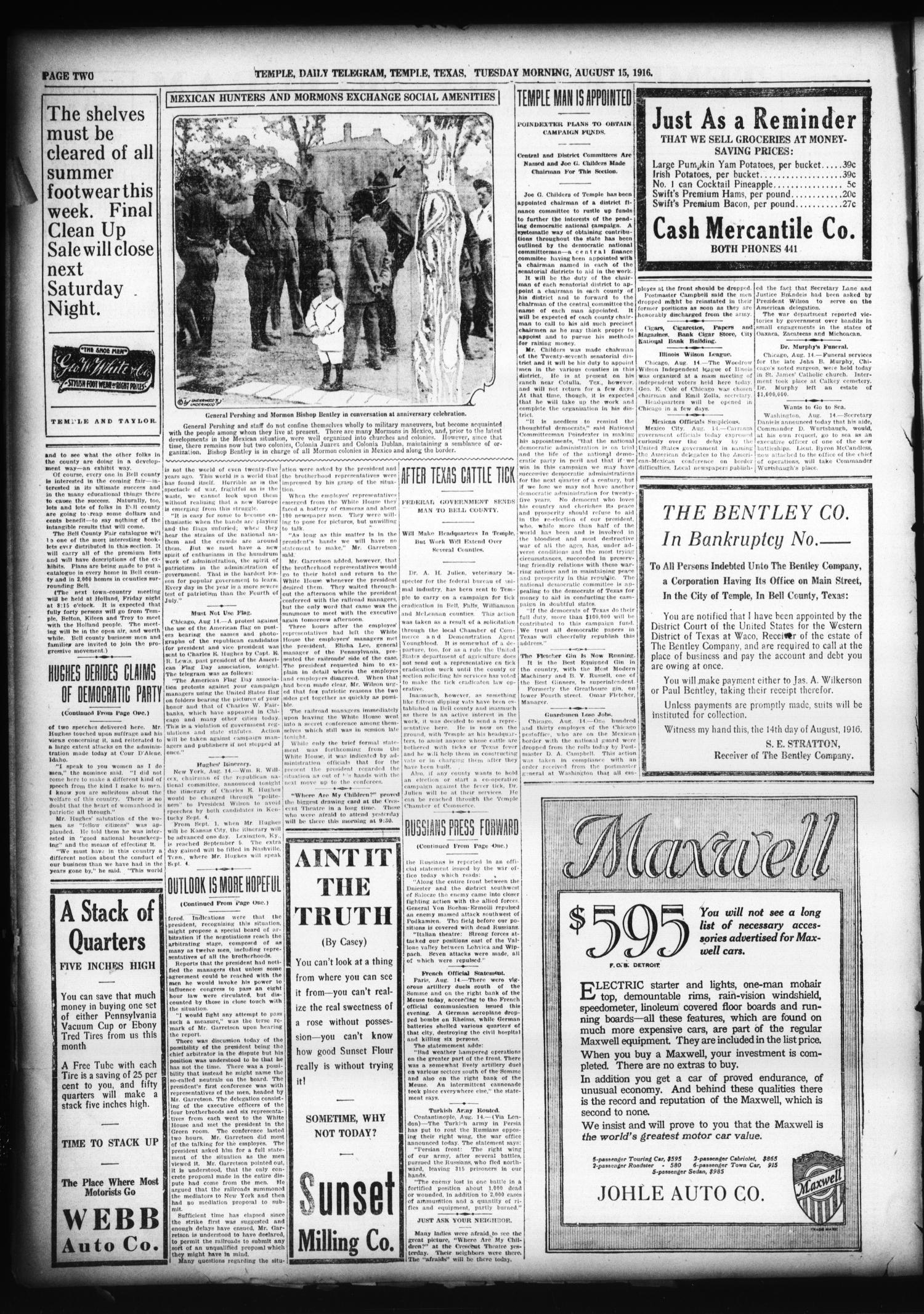 Temple Daily Telegram (Temple, Tex.), Vol. 9, No. 274, Ed. 1 Tuesday, August 15, 1916                                                                                                      [Sequence #]: 2 of 8