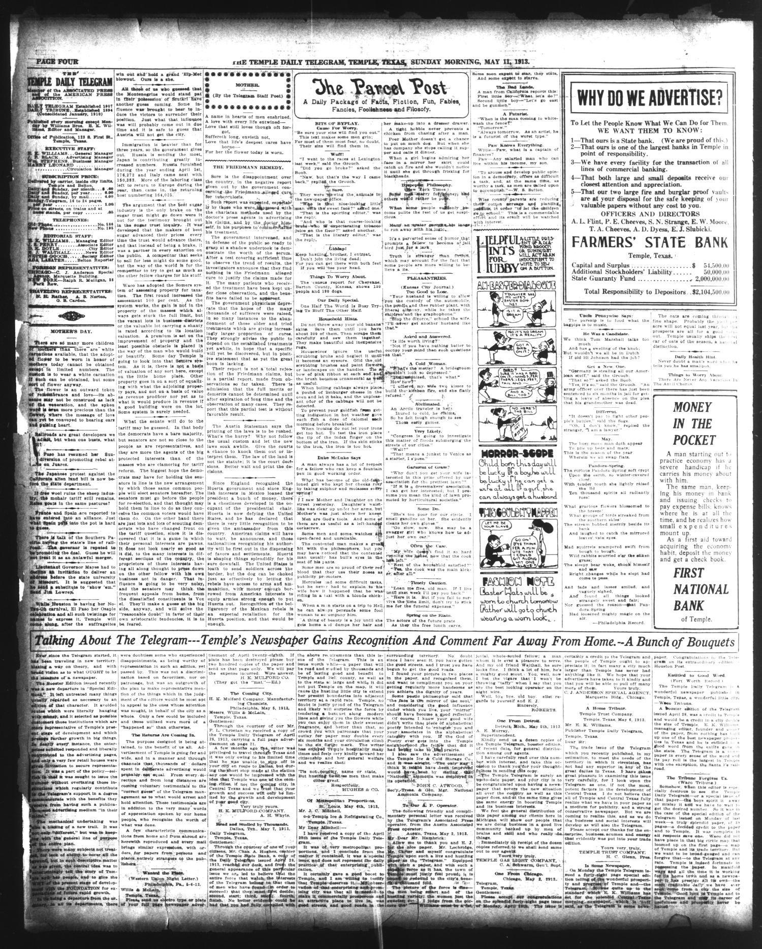 The Temple Daily Telegram (Temple, Tex.), Vol. 6, No. 150, Ed. 1 Sunday, May 11, 1913                                                                                                      [Sequence #]: 4 of 24