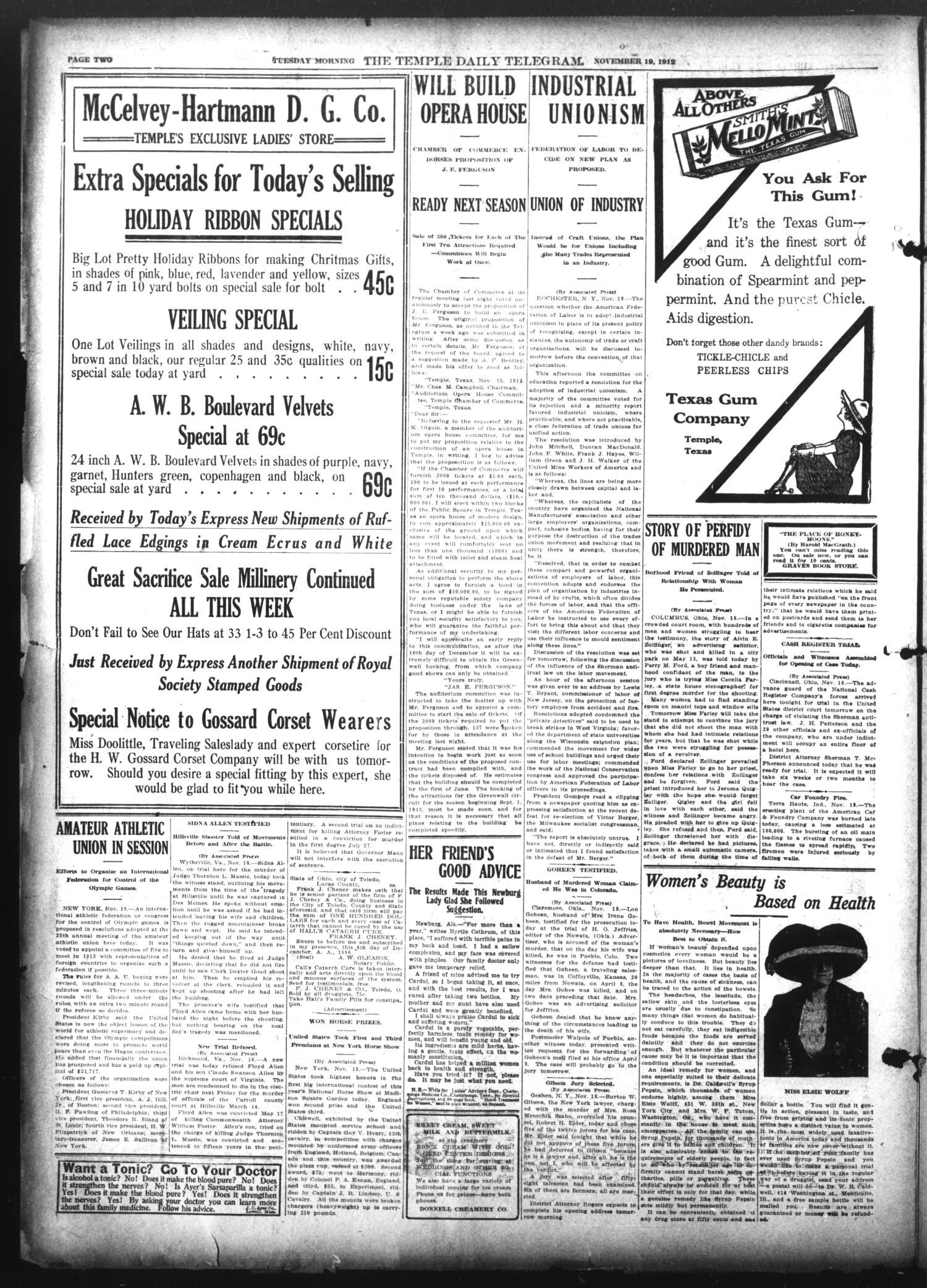 The Temple Daily Telegram (Temple, Tex.), Vol. 6, No. 1, Ed. 1 Tuesday, November 19, 1912                                                                                                      [Sequence #]: 2 of 8
