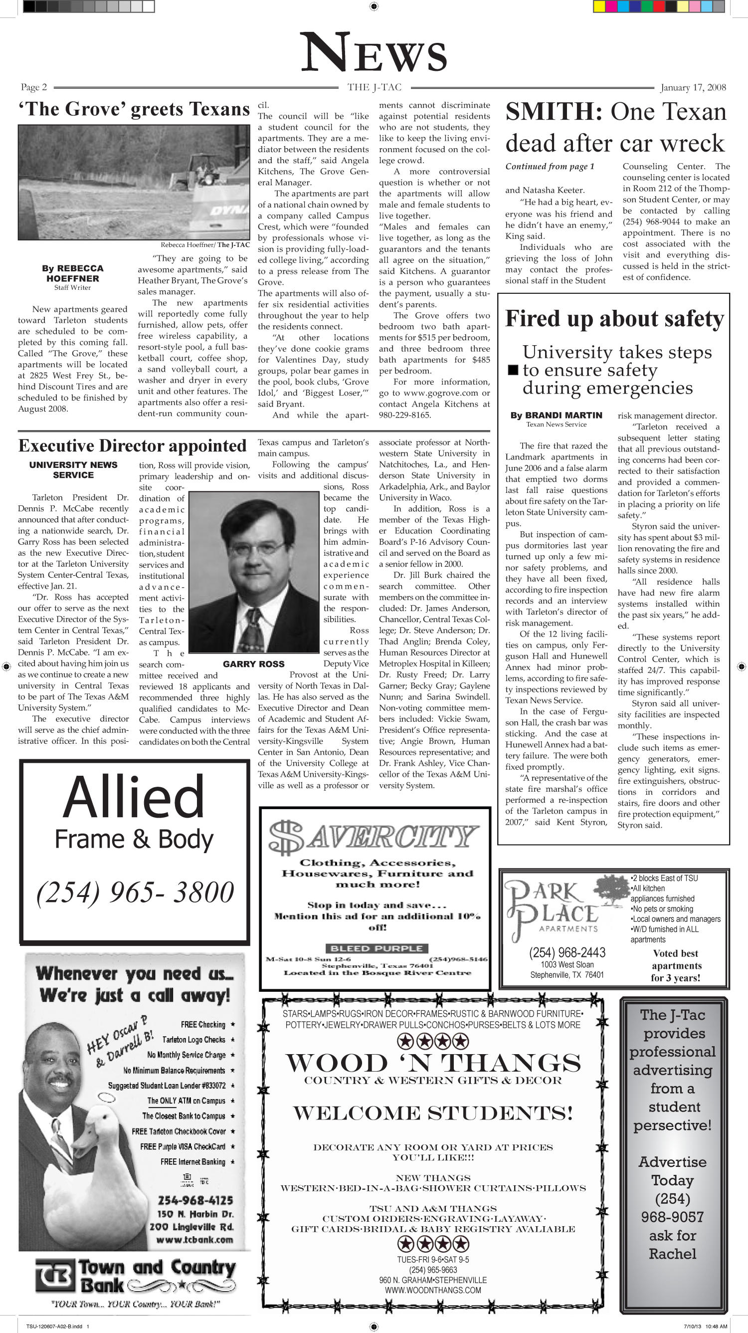 The J-TAC (Stephenville, Tex.), Vol. 178, No. 15, Ed. 1 Thursday, January 17, 2008                                                                                                      [Sequence #]: 2 of 10