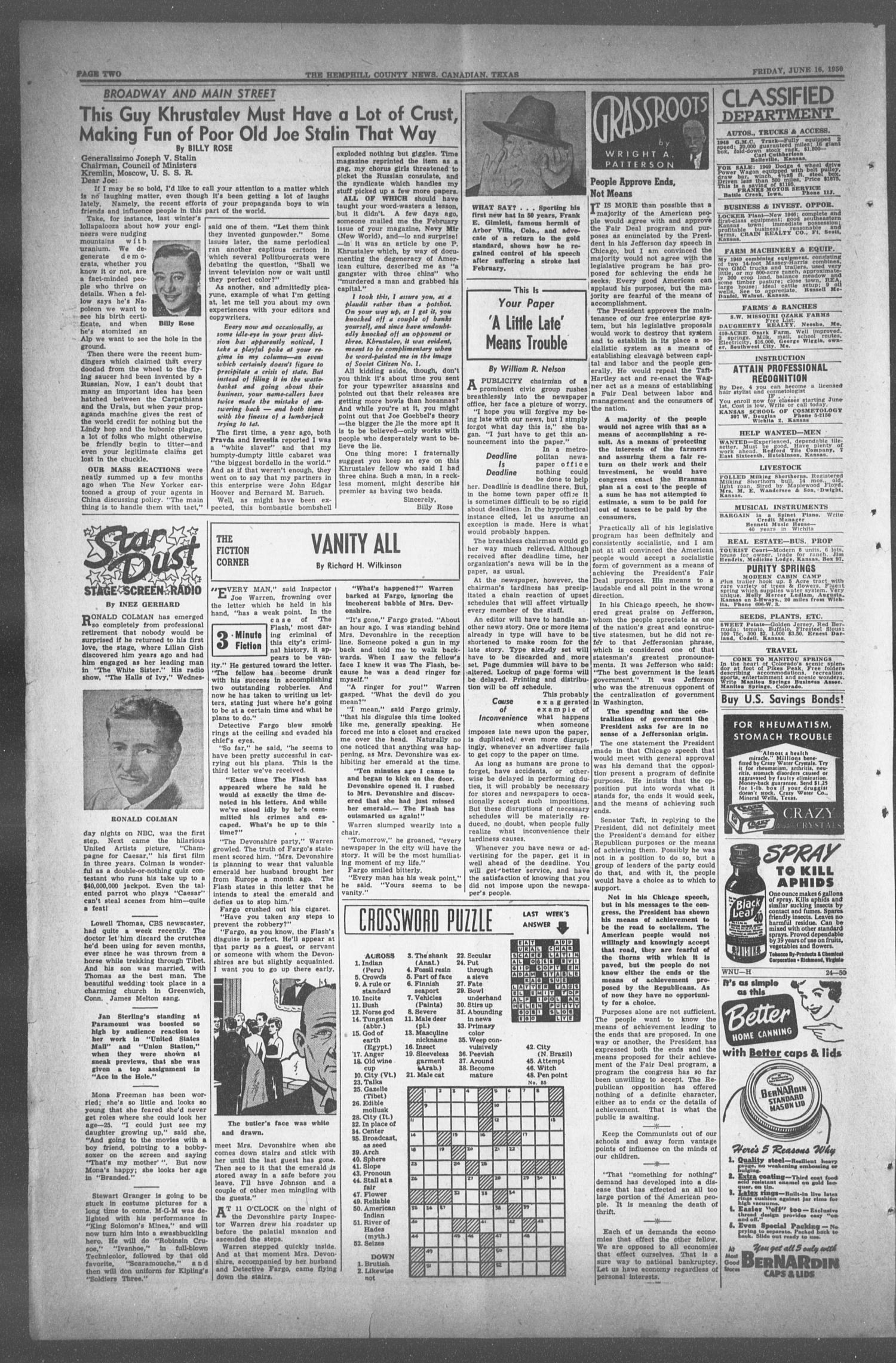 The Hemphill County News (Canadian, Tex), Vol. TWELFTH YEAR, No. 41, Ed. 1, Friday, June 16, 1950                                                                                                      2