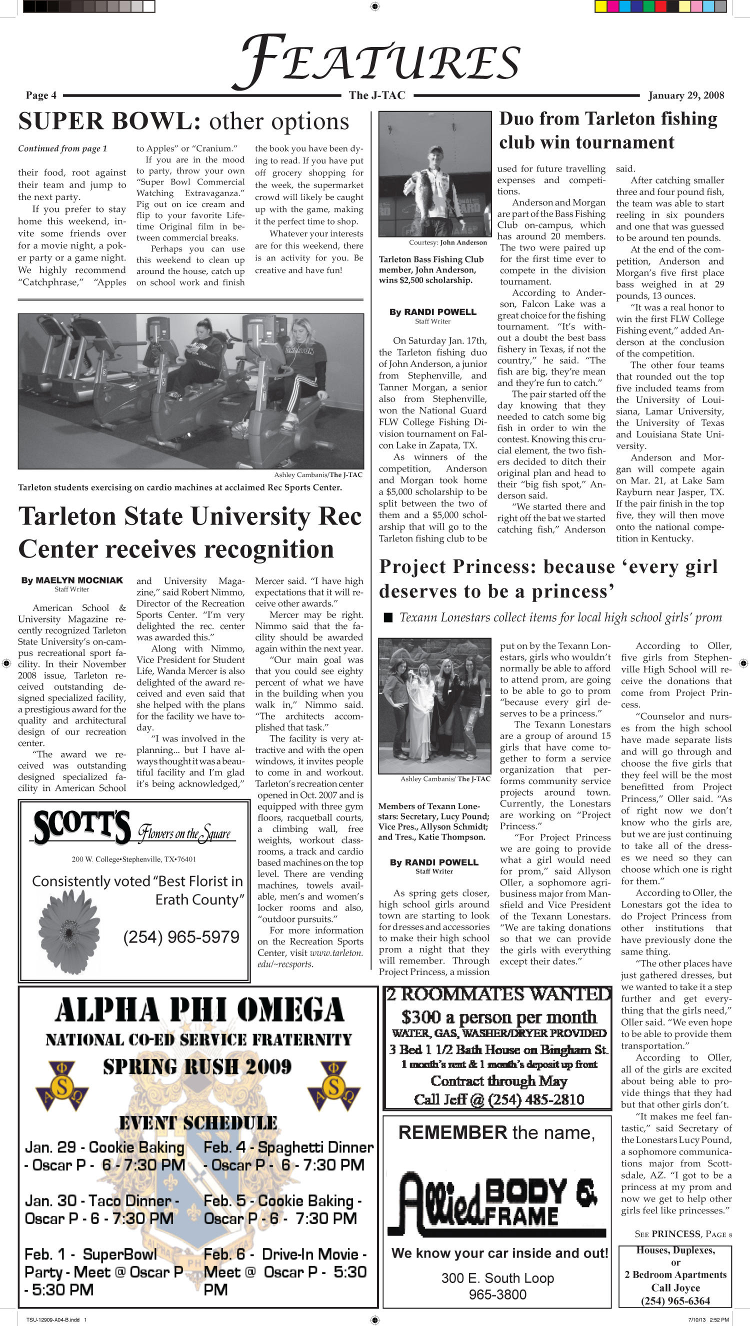 The J-TAC (Stephenville, Tex.), Vol. 181, No. 2, Ed. 1 Thursday, January 29, 2009                                                                                                      [Sequence #]: 4 of 10