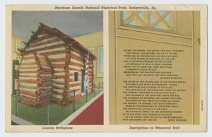 Primary view of object titled '[Postcard of Lincoln's Birthplace]'.