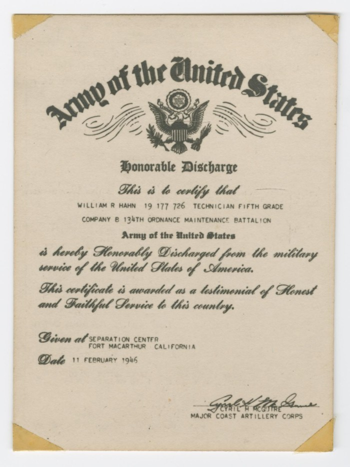 William Hahns Military Discharge Certificate The Portal To Texas