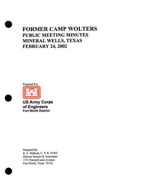 Primary view of object titled 'Former Camp Wolters Public Meeting Minutes, Mineral Wells, Texas, February 24, 2003'.