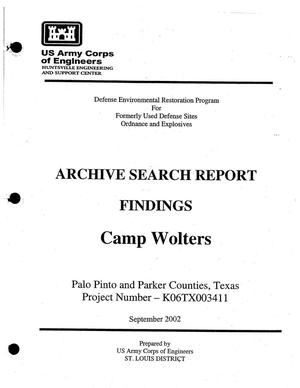 Primary view of object titled 'Archive Search Report Findings: Camp Wolters'.