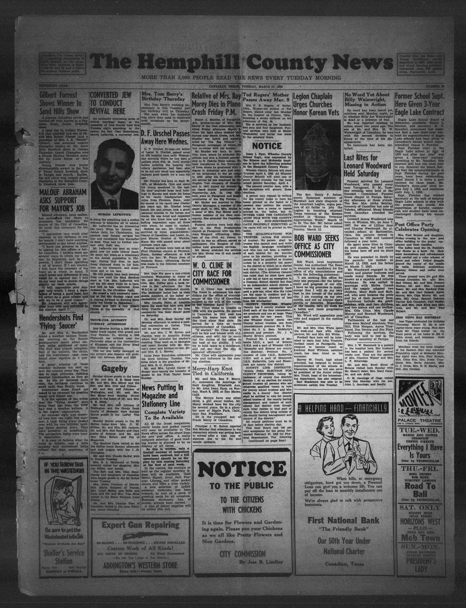 The Hemphill County News (Canadian, Tex), Vol. 15, No. 28, Ed. 1, Tuesday, March 17, 1953                                                                                                      1