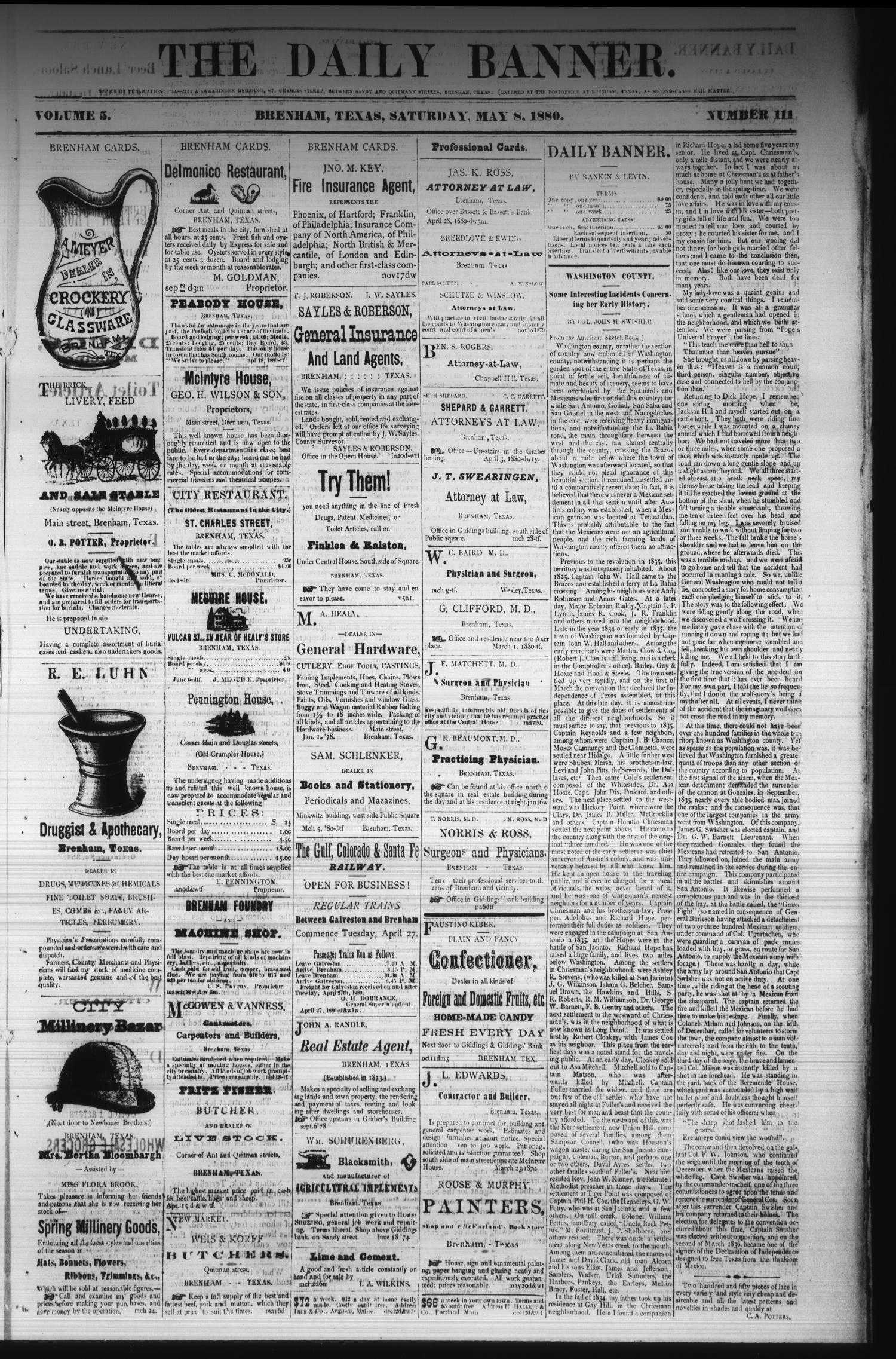 The Daily Banner. (Brenham, Tex.), Vol. 5, No. 111, Ed. 1 Saturday, May 8, 1880                                                                                                      [Sequence #]: 1 of 4