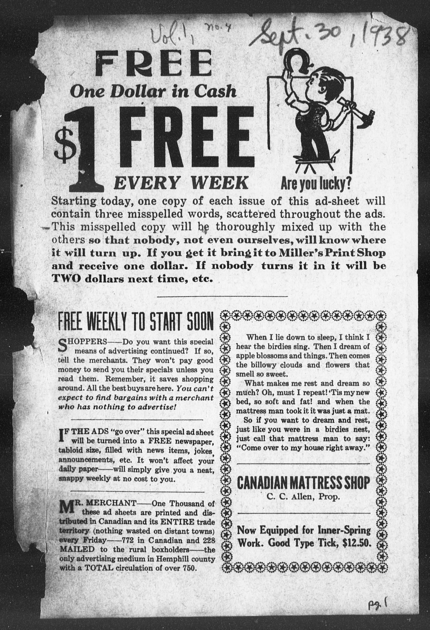 The Canadian Advertiser (Canadian, Tex), Vol. 1, No. 4, Ed. 1, Friday, September 30, 1938                                                                                                      1