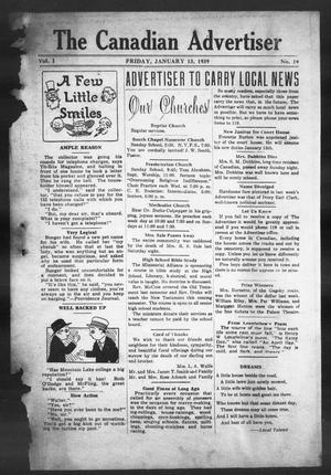Primary view of object titled 'The Canadian Advertiser (Canadian, Tex), Vol. 1, No. 19, Ed. 1, Friday, January 13, 1939'.