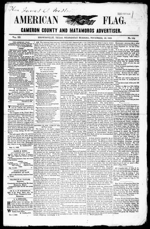 Primary view of object titled 'American Flag, Cameron County and Matamoros Advertiser. (Brownsville, Tex.), Vol. 3, No. 236, Ed. 1 Wednesday, November 29, 1848'.